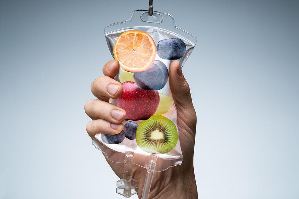 Fruit in IV Bag representing vitamin drip