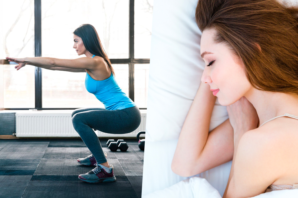Woman exercising and another woman sleeping