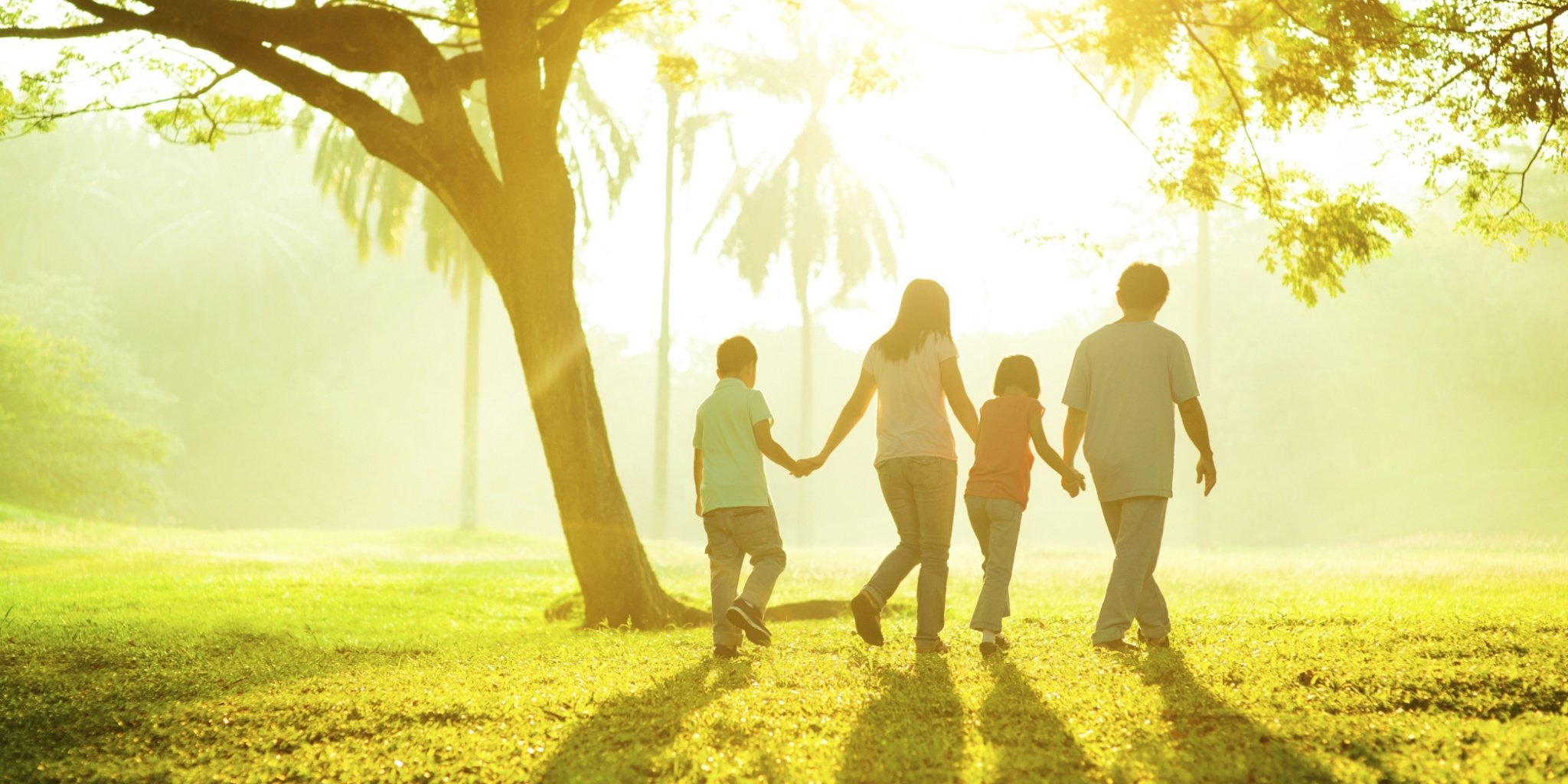 Family taking a walk through a sunny park