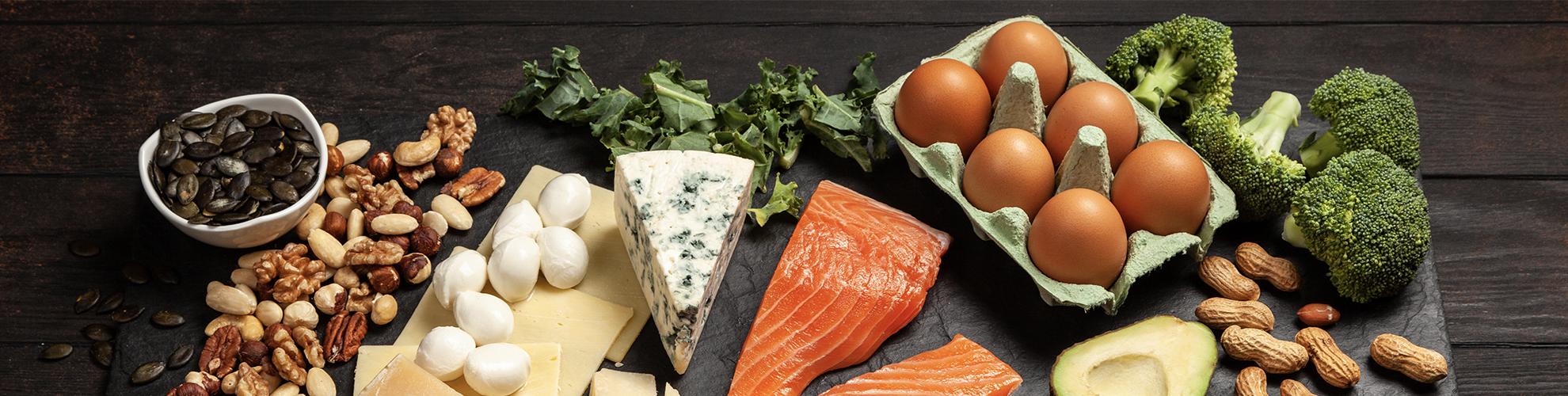 Ketogenic Foods on Black Slate Cutting Board